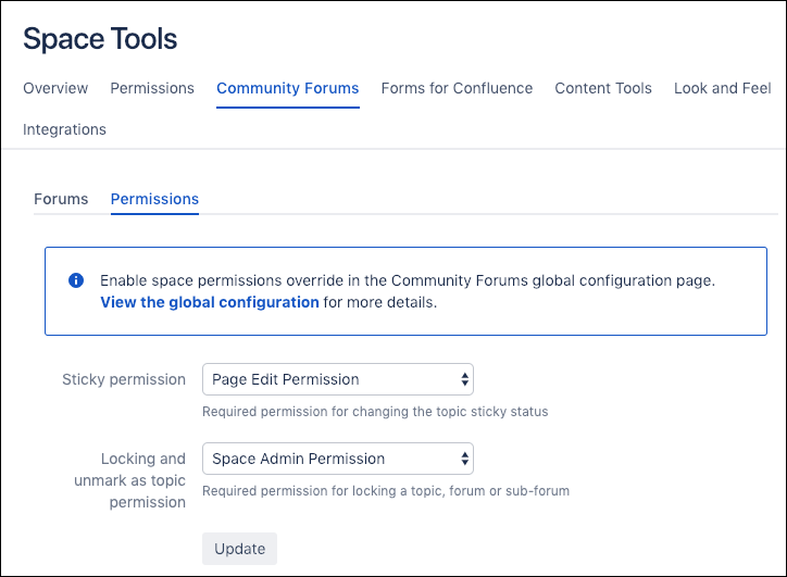 The Community Forums tab in the Space Tools window.