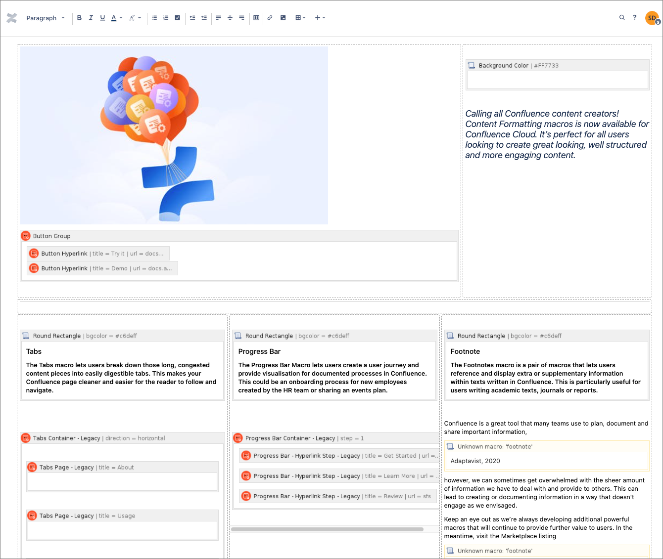 A migrated Confluence page in Edit view