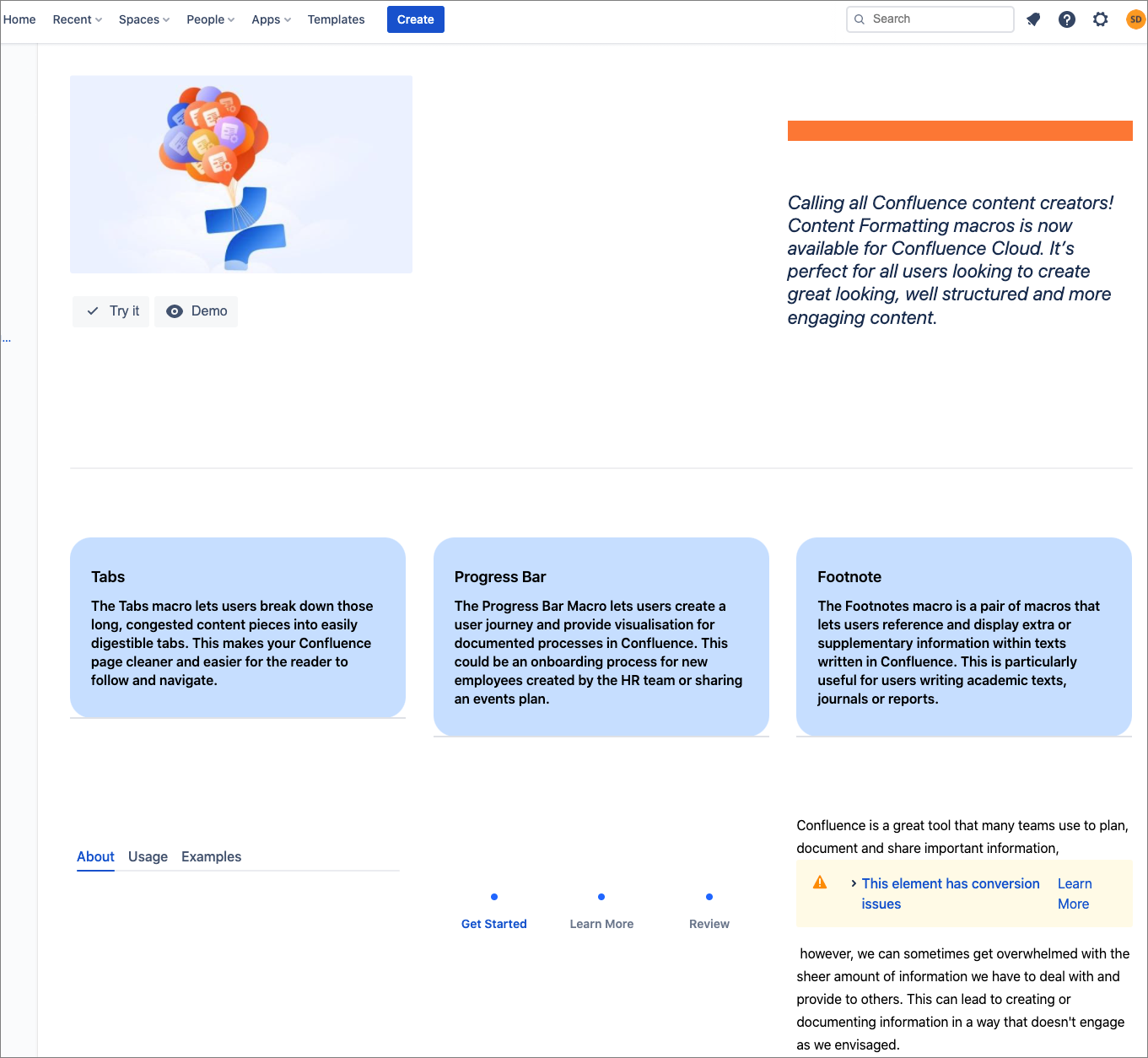 A migrated Confluence page that was converted to the new cloud editor