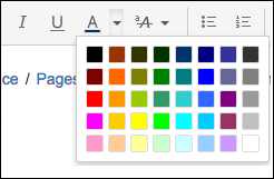 The color options available for text in the Confluence text toolbar menu.