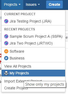 The Jira Projects drop-down menu, with new browse options visable.