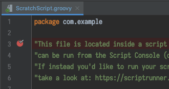 A Breakpoint set on an example script in IntelliJ IDEA.