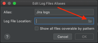 The Edit Log Files Aliases window, with the Browse button highlighted.