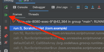 The Run button, highlighted in an IntelliJ IDEA window.