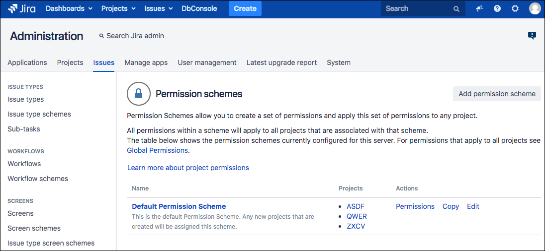 The Permissions Schemes screen, accessed from the Jira left sidebar.