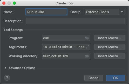 A Create Tool window, with example configuration.
