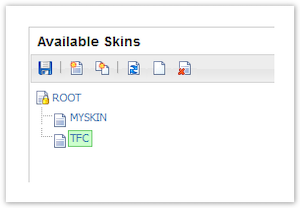 Example skins shown in the Available Skins section in the Skin Editor.